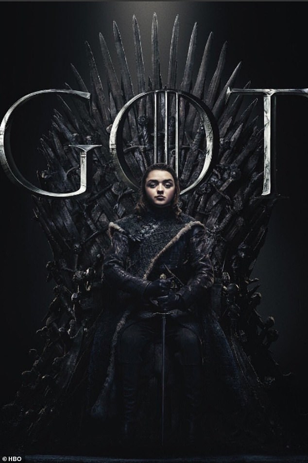 Strength of character: Arya Stark (Maisie Williams) held onto the handle of the sword with both hands and she put the weapon between her legs