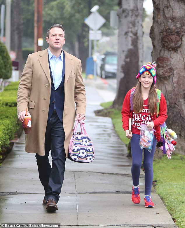 Daddy daughter time: On Thursday Jen's ex Ben Affleck was on daddy duty as he was spotted on the school run with daughter Seraphina, 10