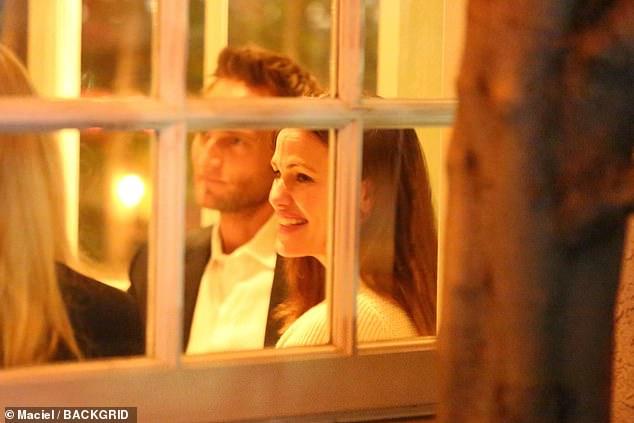 Happy couple: Jennifer Garner enjoyed a lengthy dinner date with boyfriend John Miller at Giorgio Baldi in Santa Monica on Wednesday