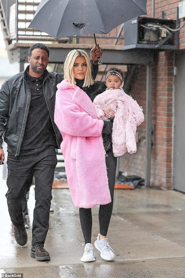 Blooming above: the 34-year-old reality star rocked a plush pink jacket after she admitted online that she was wrong to blame Jordyn Woods and that it was Tristan's debt. is to ruin their family with another false scandal