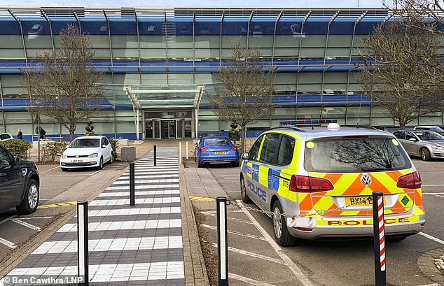 Police were at the offices of Heathow Airport in a building called the Compass Centre