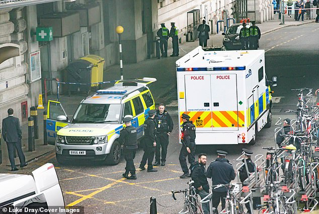 The police cordon at Waterloo Station where the suspicious package was found yesterday afternoon