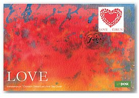A postcard marked with one of the 'Love and Marriage' stamps issued in the Republic of Ireland in 2018