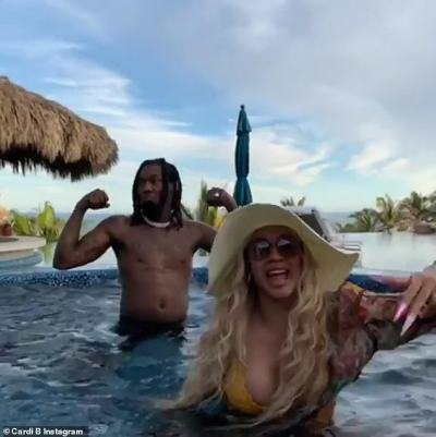 Cardi B sizzles in tiny yellow bikini as she dances with husband Offset in a hot tub during wild Los Cabos break