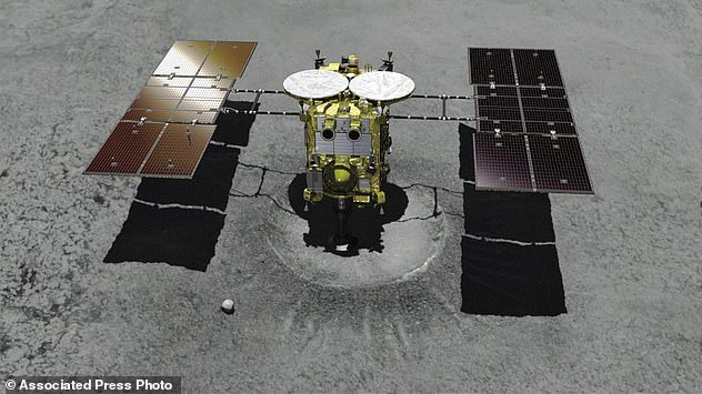 This computer graphic image provided by the Japan Aerospace Exploration Agency shows the Japanese unmanned spacecraft Hayabusa2 approaching Ryugu