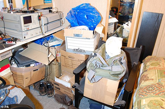 Inside, officers found a mess of old electrical equipment and jewellery in a wardrobe