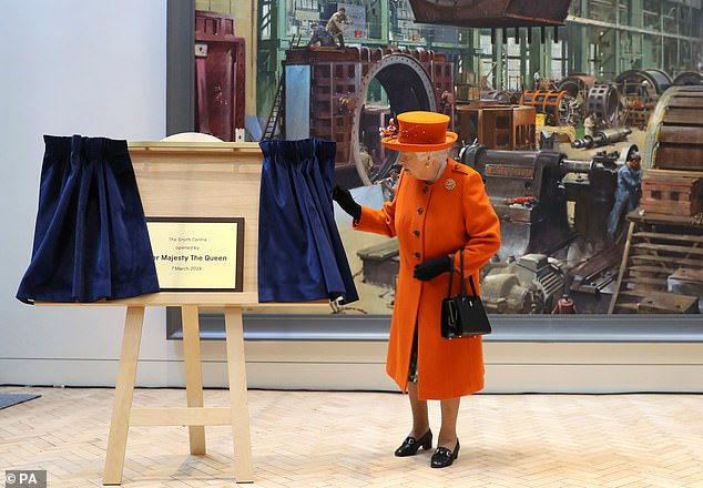 The monarch visited the museum to unveil its currently under wraps summer exhibition, 'Top Secret' and formally open the new Smith Centre