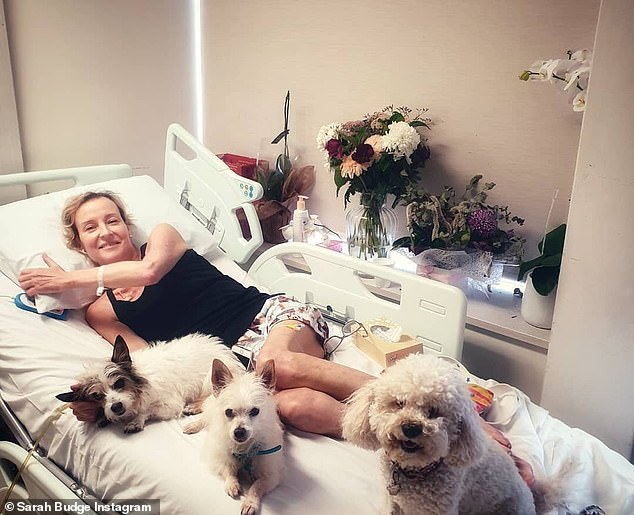 Leone Budge with her dogs. Her daughter, Sarah, said in an Instagram post that 'she loved her family, friends and our fur babies (maybe a little more than people as we often joke)'