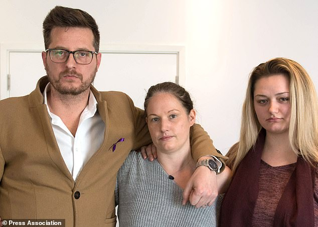 Jodie´s father Peter, stepmother Joanne and sister Lucy (Stefan Rousseau/PA)
