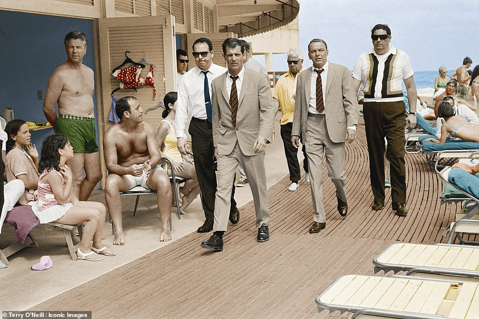 Singer and actor Frank Sinatra arrives at Miami Beach while filming The Lady In Cement in 1968. This was the first time O'Neill saw Sinatra and said he was astonished by his presence and the effect he had on those he passed