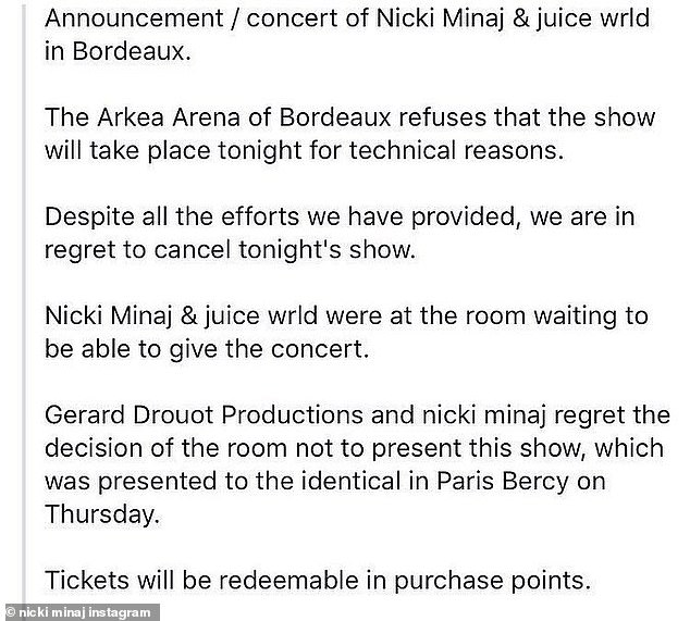Poorly worded: A statement haphazardly translated from French to English was posted to Nicki's Instagram address the cancelation