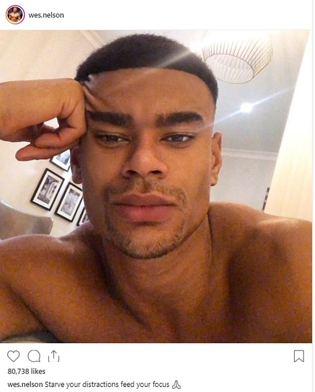 Handsome:However, just last week the blonde beauty told her Love Island beau she missed him by way of a response to a shirtless selfie shared by her ex via iMessage and Instagram