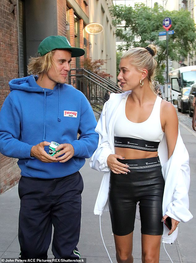Love story: Justin married Hailey in Manhattan courthouse last year (pictured July 2018)