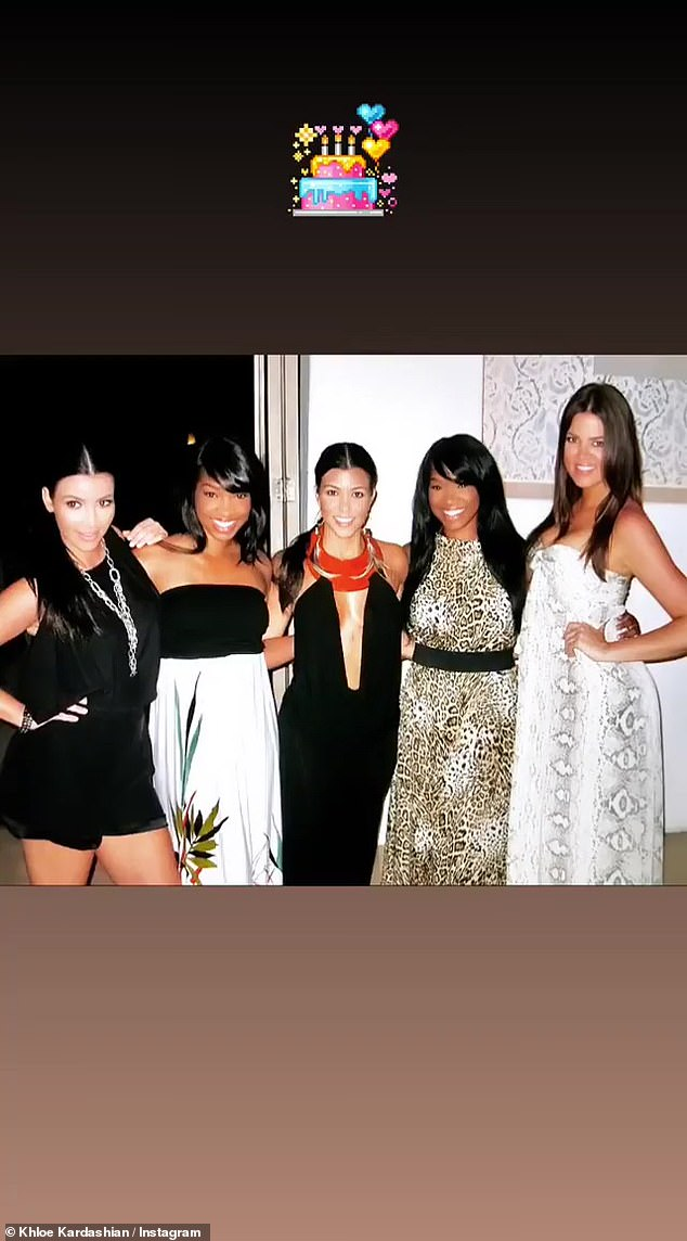 Good times:Another image showed the girls ready for a night out as the sisters posed with Kim and Kourtney