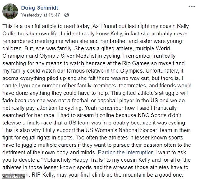 Doug Schmidt said that the article written by his 'gifted' cousin was 'painful' to read.'It seems everything piled up and she felt there was no way out,' he wrote on Facebook