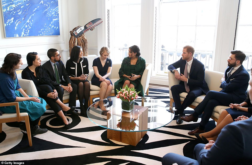 Harry and Meghan speak to guests ata Commonwealth Day Youth Event this morning.Los Angeles native Meghan lived in Canada, described as her 'second home', for over six years while filming for legal drama Suits in Toronto