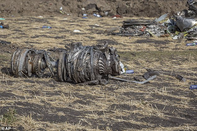 Airplane parts lie on the ground at the scene of the Ethiopian Airlines flight crash