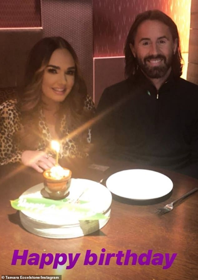 Birthday fun:The pair also shared snaps from inside the restaurant, as Jay was treated to a birthday cake after the meal