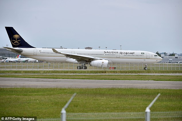 The pilot of the Saudia plane (file photo) reportedly had to request permission to return to Jeddah from baffled air traffic controllers after the woman noticed her mistake