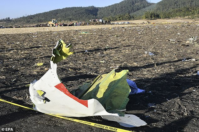 Wreckage lies at the crash site of Ethiopia Airlines Boeing 737 Max 8 which came down en route to Nairobi