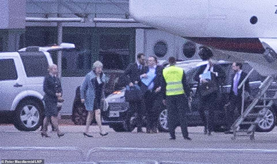 Theresa May boarded her jet at RAF Northolt alongside close aides last night for the make or break trip to Strasbourg (pictured)