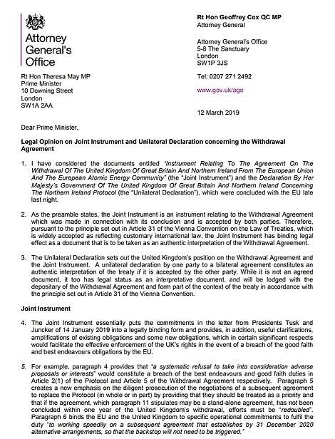 Geoffrey Cox's letter legal risk