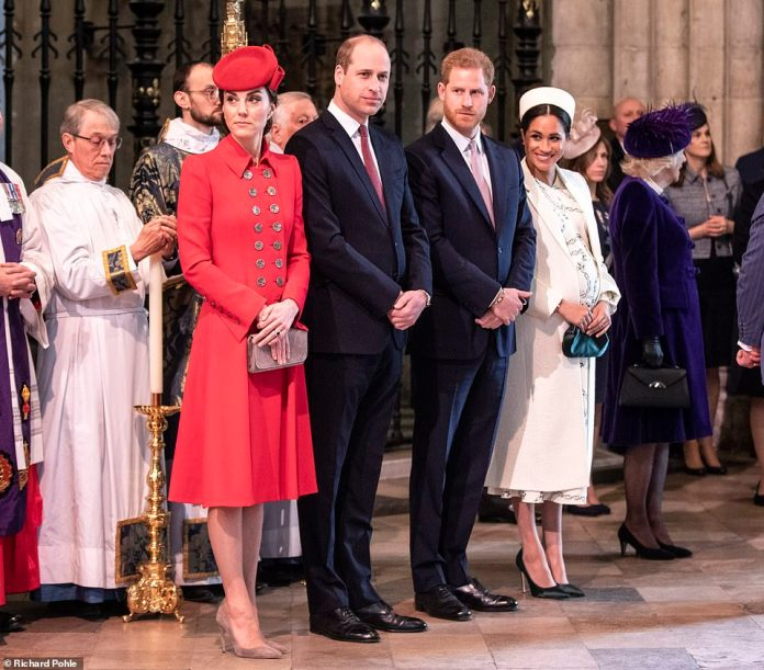 Also present were the Duke and Duchess Sussex, depicted with the Cambridges and the Duke and Duchess of Cornwall