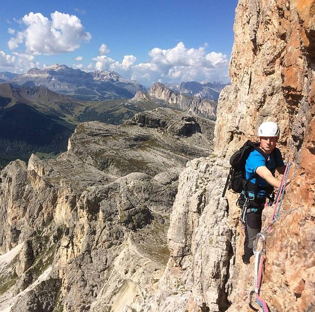 Previous Ben Nevis deaths: Patrick Boothroyd, 21, pictured in the Dolomites in September,died after a 1,500ft fall on December 16