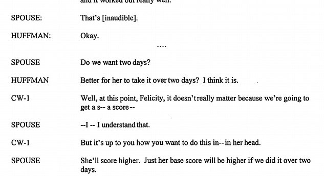 Plan: A recorded phone conversation makes it evident that Huffman is aware that her daughter will be assisted in the test (above)