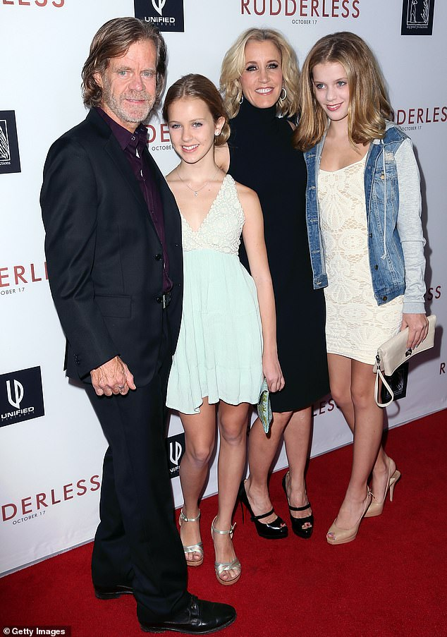 A good daddy: William with daughters Georgia and Sofia as well as his actress wife at the Los Angeles VIP Screening of Rudderless in LA in 2014