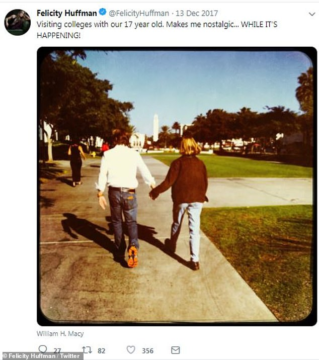 Serious about school:In December 2017, Felicity shared images of William showing Sofia college campuses. 'Visiting colleges with our 17 year old. Makes me nostalgic… WHILE IT'S HAPPENING!' she wrote