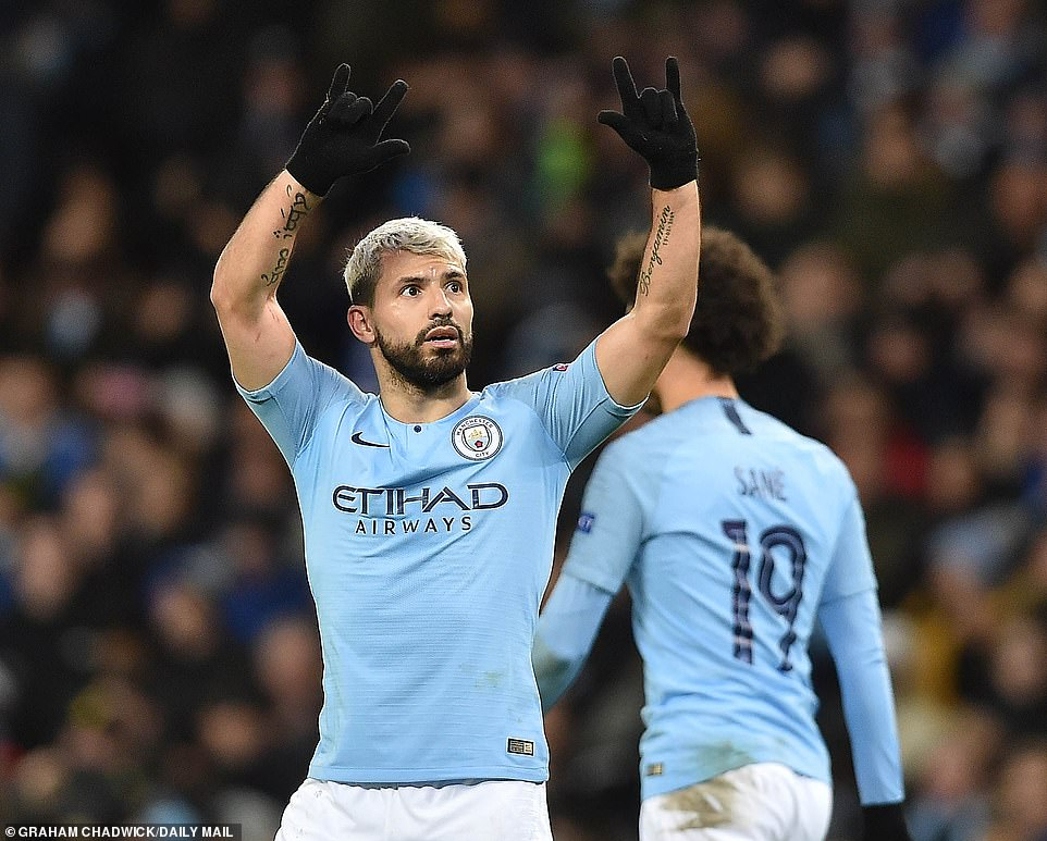 The Argentine kept his celebrations to a minimal, raising his arms to the City supporters inside the Etihad