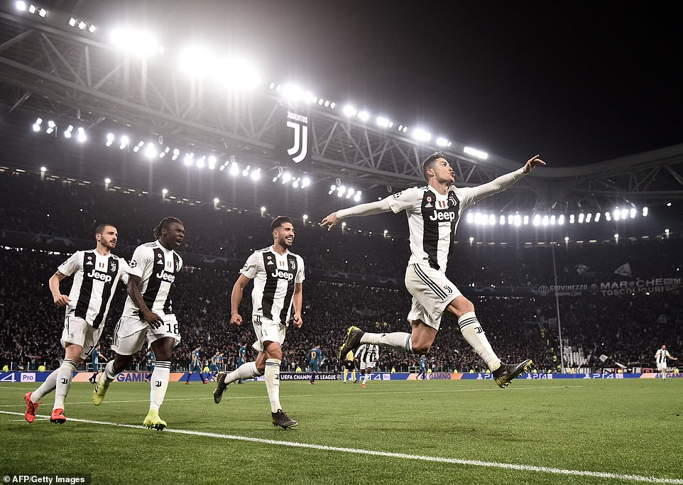 Ronaldo embarks on his trademark celebration after notching his eighth hat-trick in the Champions League