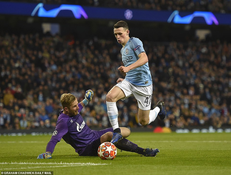Foden jinked past the onrushing goalkeeper before maneuvering his body to slot the ball into an empty net from an angle
