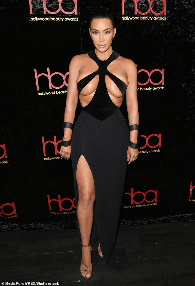 Showing skin: Back in February she donned a ravishing Mugler number to the 5th Annual Hollywood Beauty Awards in LA