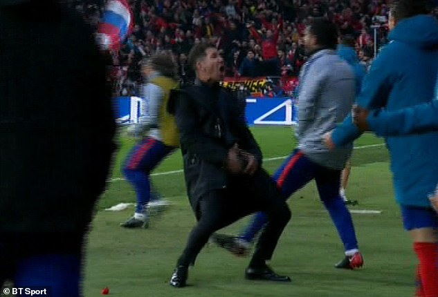Atletico manager Diego Simeone grabbed his crotch during his celebration in the first leg