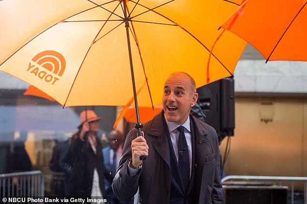 Top of the morning: It is a shocking about face from the woman, who had gone to great lengths in order to make sure her identity was not revealed when the story broke (Lauer above on the set of Today on June 2017)