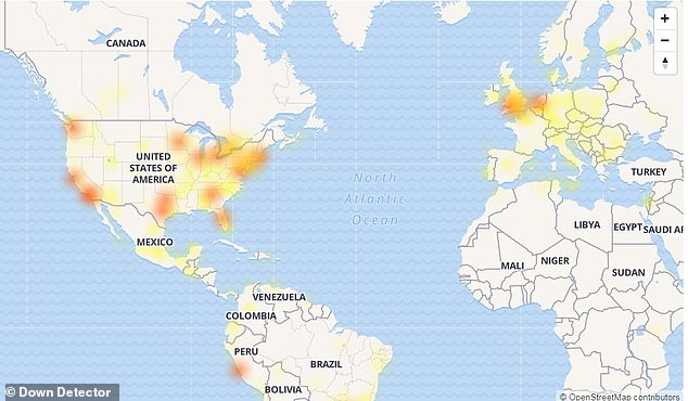 A slew of Facebook -owned social media sites are experiencing a worldwide outage, leaving thousands of users unable to connect. Outage hotspots for Facebook are shown in the map above