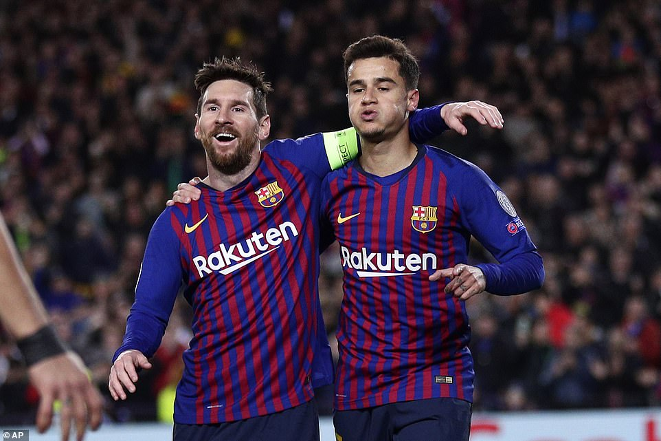 Messi and Philippe Coutinho both scored in the first half to put the home side in a dominant position in the tie