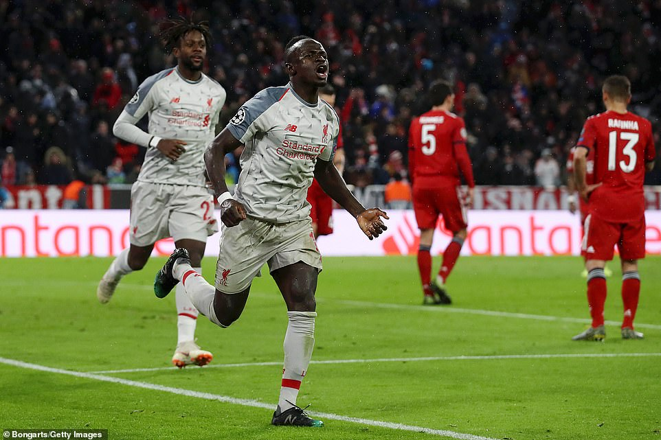 Sadio Mane celebrates scoring his second goal to put the last 16 tie to bed to send Bayern Munich crashing out at home