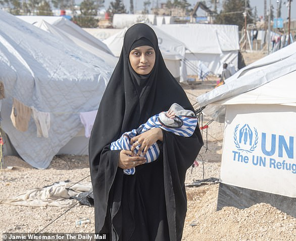 Last month former London schoolgirl turned ISIS bride Shamima Begum (pictured with her son was tracked down to a the Al-Hawl refugee camp in north-eastern Syria