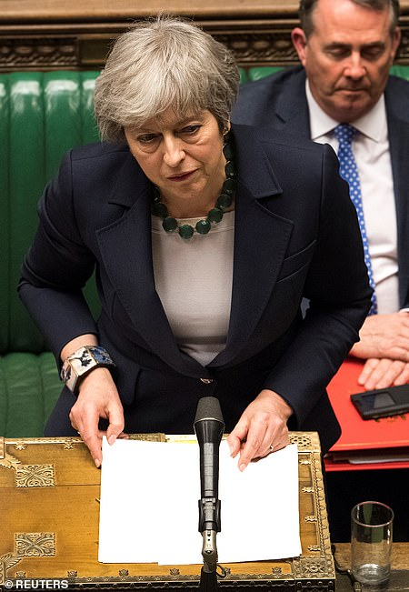 Prime Minister Theresa May speaks in Parliament following the vote last night