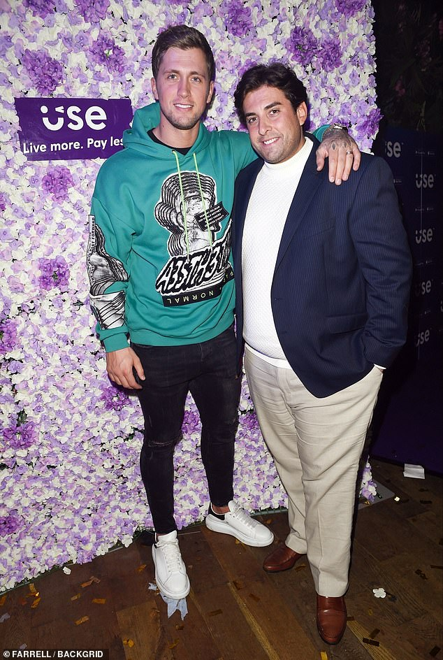 Letting loose: Dan was pictured posing with his fellow former TOWIE co-star James Argent