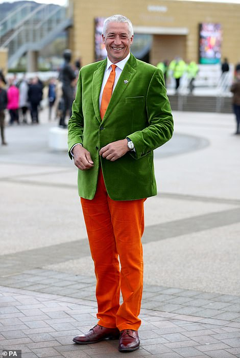This chap opted for an emerald green blazer to match his orange trousers and tie