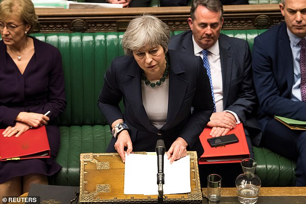 Prime Minister Theresa May speaks in Parliament following the vote last night devastating vote