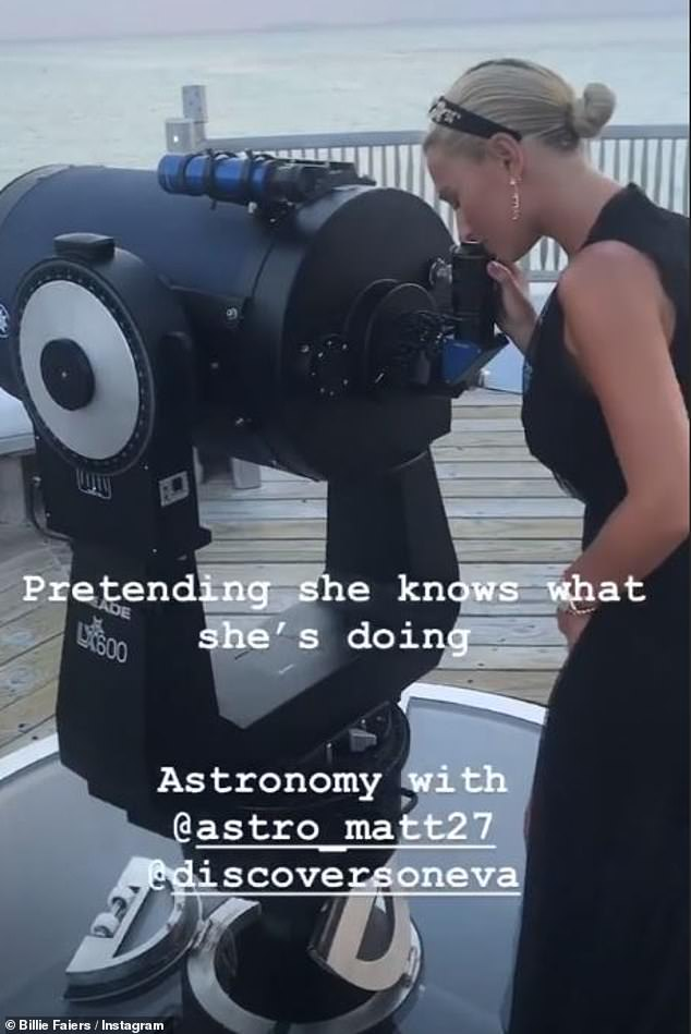 Happy days: He also posted a shot while Billie looked through a telescope-style device while teasing her for 'not knowing what she's doing'
