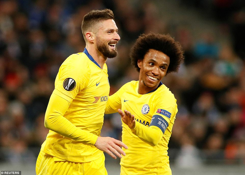French striker Giroud celebrates doubling his tally against Dynamo Kiev for the night with team-mate Willian