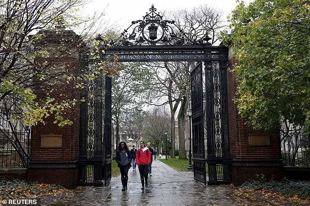 Stanford student Erica Olsen said in her lawsuit that she was rejected from Yale (pictured above) after paying her application fee of roughly $80 despite her 'stellar' test scores and athletic ability