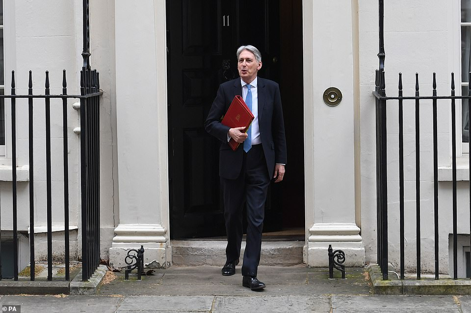 Philip Hammond (pictured leaving No 11 Downing Street) will announce a major funding boost to combat knife crime as he unveils his spring statement 16 days before Brexit