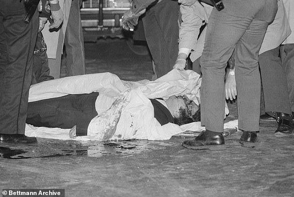 The bodies of Castellano and Bilotti  lay in a pool of blood after they were gunned down outside Sparks steakhouse in Manhattan